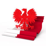 Poland coat of arm flag eagle. There is poland coat of arm eagle with  flag Stock Images