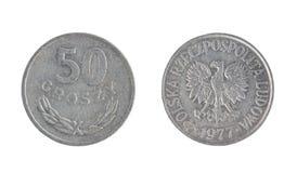 Poland coin, the nominal value of 50 groszy stock photos
