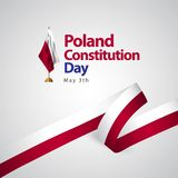 Poland Constitution Day Flag Vector Template Design Illustration. Background independence may symbol white holiday national color texture graphic celebration royalty free illustration