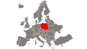 Poland country blinking red highlighted in map of Europe