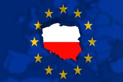 Poland Country on Euro Union flag and Europe background Stock Photography