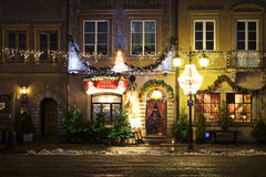 Poland: Cozy restaurant in Warsaw. Christmas atmosphere in the capital of Poland. Old town of Warsaw is filled with cozy restaurants and cafes Stock Photo