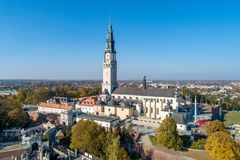 Poland, Czestochowa. Jasna Góra fortified monastery and church on the hill. Famous historic place and Polish Catholic pilgrimage royalty free stock photography