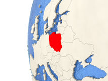 Poland on 3D globe. Map of Poland on globe with watery blue oceans and landmass with visible country borders. 3D illustration Royalty Free Stock Photos
