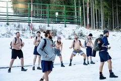 POLAND - DECEMBER 05: Wim Hof method instructors give a few word stock photography