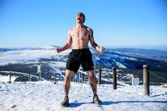 POLAND - DECEMBER 05: Wim Hof method trainee yells after hiking royalty free stock photos