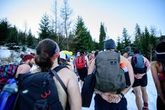 POLAND - DECEMBER 05: Wim Hof method trainees hiking in Mount Sn royalty free stock images