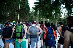 POLAND - DECEMBER 05: Wim Hof method trainees hiking in Mount Sn royalty free stock photo