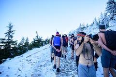 POLAND - DECEMBER 05: Wim Hof method trainees hiking in Mount Sn stock images