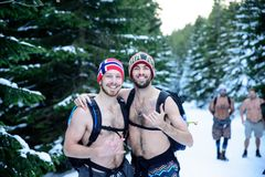 POLAND - DECEMBER 05: Wim Hof method trainees smile as they are stock images