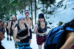 POLAND - DECEMBER 05: Wim Hof method trainees smile as they are stock photo