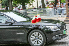Poland Diplomatic car during Military parade (Defile) in Republic Day (Bastille Day). Champs Elysee Royalty Free Stock Photo