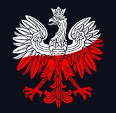 Poland eagle in national colors. Poland eagle in national white, red colors, as patriotic background, vector national emblem Royalty Free Stock Photos