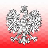 Poland eagle over white red mosaic. As patriotic background, vector national emblem Royalty Free Stock Image