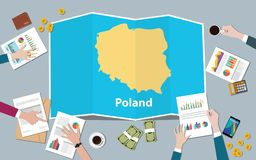 Poland economy country growth nation team discuss with fold maps view from top. Vector illustration stock illustration