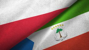 Poland and Equatorial Guinea two flags textile cloth, fabric texture. Poland and Equatorial Guinea two folded flags together stock illustration