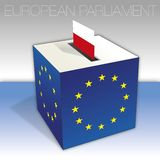 Poland, European parliament elections, ballot box and flag. European parliament elections voting box, Poland, flag and national symbols, vector illustration vector illustration