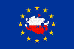 Poland falling apart puzzle on Euro Union Flag Royalty Free Stock Images