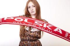 Poland fan. Young woman Poland fan cheering Royalty Free Stock Photos