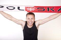 Poland fan. Young man Poland fan smiling Stock Photos
