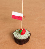 Poland, flag on a apple cupcake. Poland flag on a apple cupcake,picture of a Royalty Free Stock Images