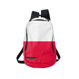 Poland flag backpack isolated on white. Background. Back to school concept. Education and study abroad. Travel and tourism in Poland Stock Photo