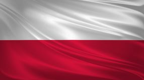 Poland flag blowing in the wind. Background texture. 3d rendering, wave. stock illustration