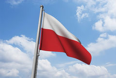 Poland Flag with Clouds Stock Photos