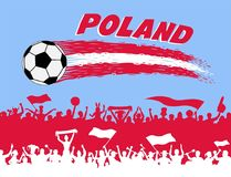 Poland flag colors with soccer ball and Polish supporters silhou. Ettes. All the objects, brush strokes and silhouettes are in different layers and the text Royalty Free Stock Image