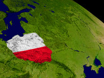 Poland with flag on Earth Royalty Free Stock Photo