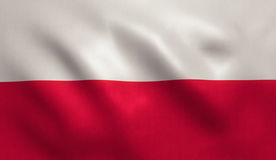 Poland Flag. With fabric texture Stock Image