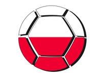 Poland flag on football ball, 2018 Championship, white backgroun Stock Images