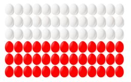 Poland flag made from colorful Easter eggs. Poland flag made from colorful Easter eggs on white background Royalty Free Stock Photo