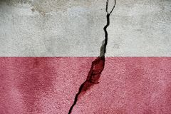 Poland FLAG PAINTED ON CRACKED WALL cool. Poland   FLAG PAINTED ON CRACKED WALL Stock Image