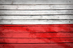 Poland flag painted on wooden boards Stock Images
