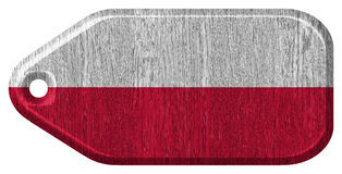 Poland flag. Painted on wooden tag Stock Photo