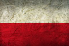 Poland Flag on Paper. Flag on an old Paper Texture Royalty Free Stock Photography