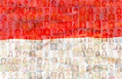 Poland flag with portraits of Polish people. Poland flag with many face portraits on background of different looking and age diverse citizens Stock Images