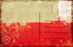 Poland flag postcard. Poland flag on old postcard ,Euro 2012 football Royalty Free Stock Images
