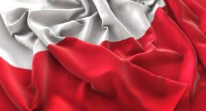 Poland Flag Ruffled Beautifully Waving Macro Close-Up Shot. Studio Royalty Free Stock Photo