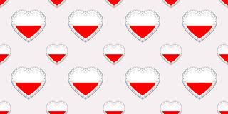 Poland flag seamless pattern. Vector Polish flags stikers. Love hearts symbols. Background for language courses, sports. Poland flag seamless pattern. Vector stock illustration