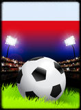 Poland Flag with Soccer Ball on Stadium Background Royalty Free Stock Image