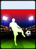 Poland Flag with Soccer Player on Stadium Background Stock Images