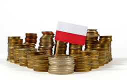 Poland flag with stack of money coins Royalty Free Stock Images