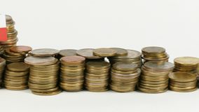 Poland flag with stack of money coins. Poland flag waving with stack of money coins stock footage