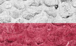 Poland Flag on a stone wall. royalty free illustration