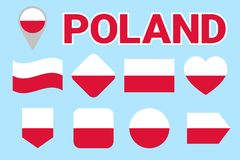 Poland flag vector set. Collection of Polish national flags. Flat isolated icons, traditional colors. Illustration. Web, sports pa royalty free illustration