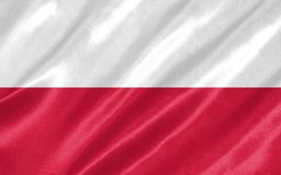 Poland Flag. With waving on satin texture vector illustration