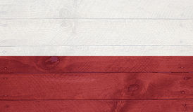 Poland flag on wood boards with nails Stock Photos