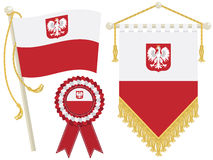 Poland flags. Poland flag, rosette and pennant, isolated on white Royalty Free Stock Image